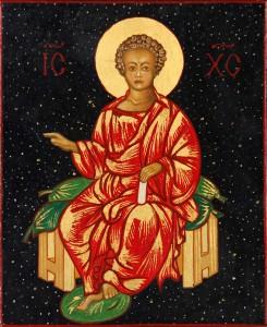 Jésus enfant sur un trône de gloire